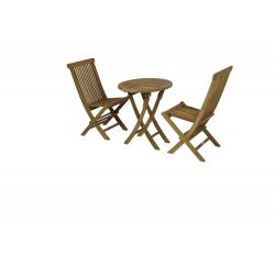 Conjunto formado por mesa redonda plegable Ø60cm + 2 sillas plegables.