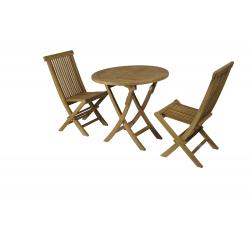 Conjunto formado por mesa redonda plegable Ø80cm + 2 sillas plegables