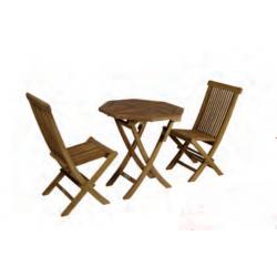 Conjunto formado por mesa octogonal plegable Ø70cm + 2 sillas plegables