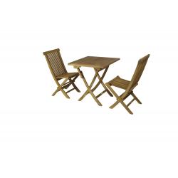Conjunto formado por mesa cuadrada plegable 70 x 70cm + 2 sillas plegables.
