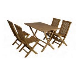 Conjunto formado por mesa rectangular. plegable 120 x 70cm + 4 sillas plegables.