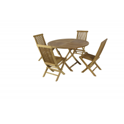 Conjunto formado por mesa redonda plegable Ø100 + 4 sillas plegables.