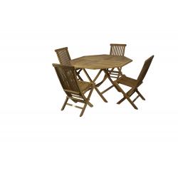 Conjunto formado por mesa octogonal plegable Ø120 + 4 sillas plegables.